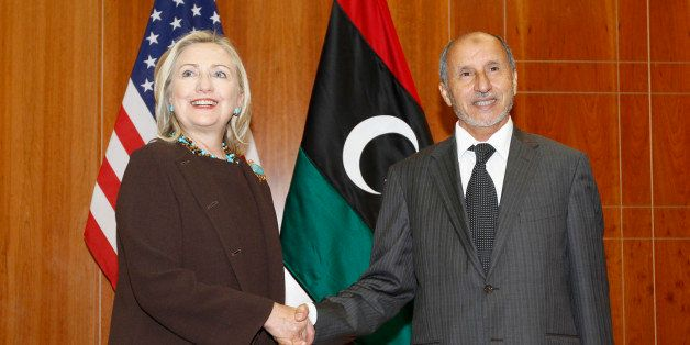 U.S. Secretary of State Hillary Rodham Clinton meets with Libya Transitional  National Council President Mustafa Abdel-Jalil