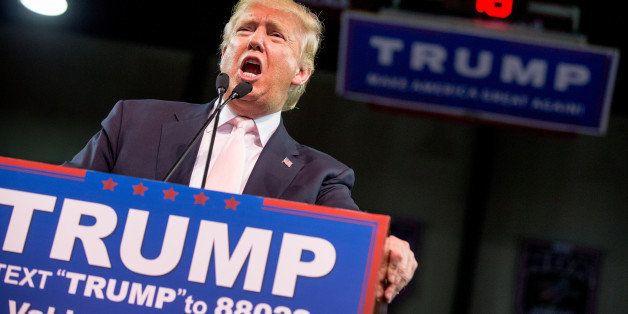 Republican presidential candidate Donald Trump speaks at a rally at Valdosta State University in Valdosta, Ga., Monday, Feb.