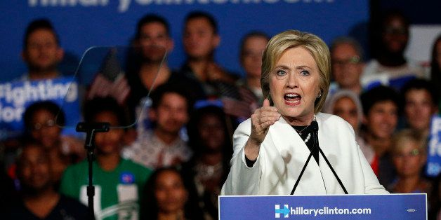 Democratic presidential candidate Hillary Clinton speaks at a rally during a campaign event on Super Tuesday in Miami on Marc