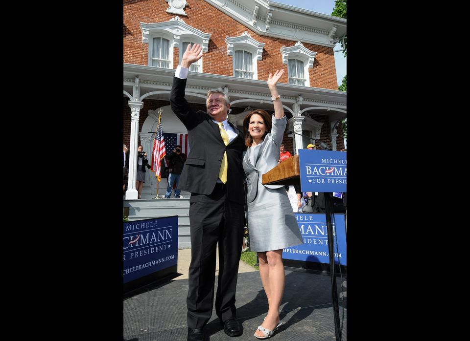 Michele Bachmann announces her candidacy for President of the United States in an elegant gray suit and a pair of open-toed,