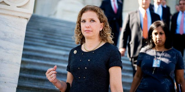 UNITED STATES - OCTOBER 21: Rep. Debbie Wasserman Schultz, D-Fla., descends the House steps after a vote in the Capitol, Octo