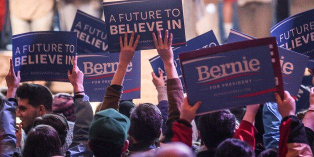 PORTLAND, ME - MARCH 2: Bernie Sanders supporters cheer after the candidate speaks about student loan debt at the State Theat