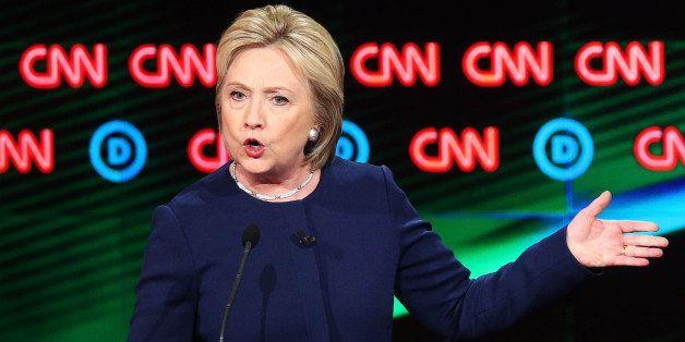 FLINT, MI - MARCH 06:  Democratic presidential candidate Hillary Clinton speaks during the CNN Democratic Presidential Primar