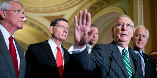 UNITED STATES - FEBRUARY 09: From left, Sens. Roger Wicker, R-Miss., John Barrasso, R-Wyo., John Thune, R-S.D., Senate Majori