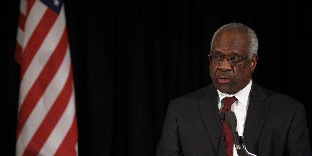 Supreme Court Justice Clarence Thomas speaks at the memorial service for Supreme Court Justice Antonin Scalia, Tuesday, March