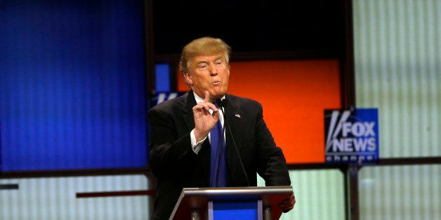 Republican presidential candidate, businessman Donald Trump speaks during a Republican presidential primary debate at Fox The
