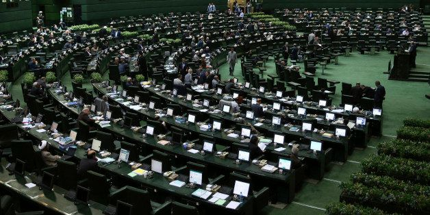 A general view shows an open session of the outgoing parliament in Tehran, Iran, Tuesday, March 1, 2016. A coalition of moder