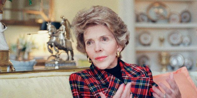 First Lady Nancy Reagan gestures during an interview with the Associated Press, on Wednesday, Jan. 14, 1989 at the White Hous