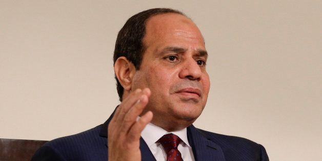 Egyptian President Abdel Fattah el-Sisi answers questions during an interview, Saturday, Sept. 26, 2015, in New York. Sisi di