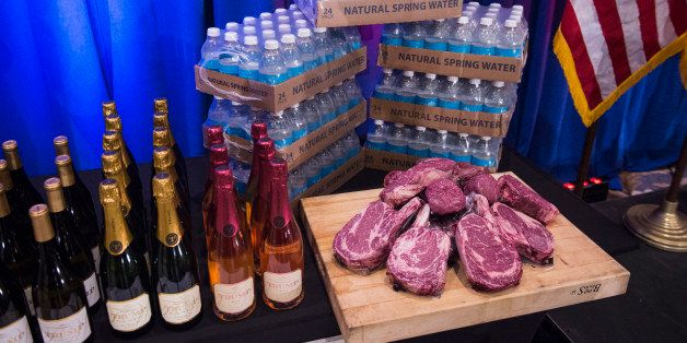 JUPITER, FL - MARCH 8: A display including Trump branded wine, champaign, water and steaks is seen before republican presiden