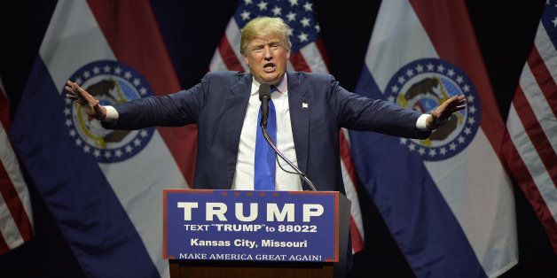 Republican presidential candidate Donald Trump speaks during a rally at the Arvest Bank Theater in Kansas City, Mo., on Satur