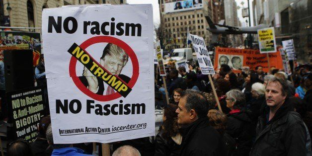 NEW YORK, NY - MARCH 13:   Peace activists take part in a rally and march against Donald Trump on March 13, 2016 in New York