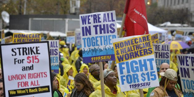 NEW YORK CITY, Nov. 10, 2015-- People attend the strike in support of a $15-per-hour minimum wage in New York City, the Unite