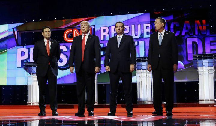 Republican presidential candidates, Sen. Marco Rubio, R-Fla., left, Donald Trump, Sen. Ted Cruz, R-Texas,  and Ohio Gov. John
