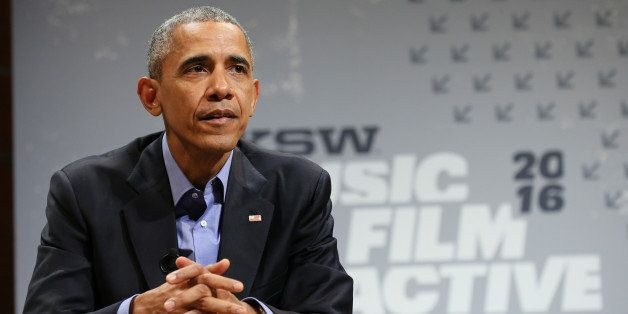 AUSTIN, TX - MARCH 11:  President Barack Obama speaks at the opening Keynote during the 2016 SXSW Music, Film + Interactive F