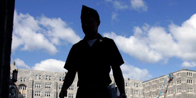A cadet on campus at the United States Military Academy at West Point, N.Y.,Wednesday, Sept. 12, 2007. (AP Photo/Mike Groll)