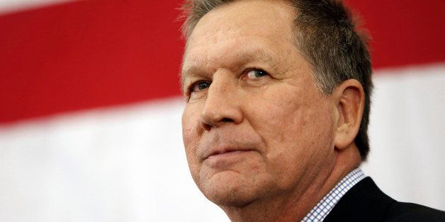 FILE-This Saturday, April 18, 2015 file photo shows Gov. John Kasich, R-Ohio, speaking at the Republican Leadership Summit in