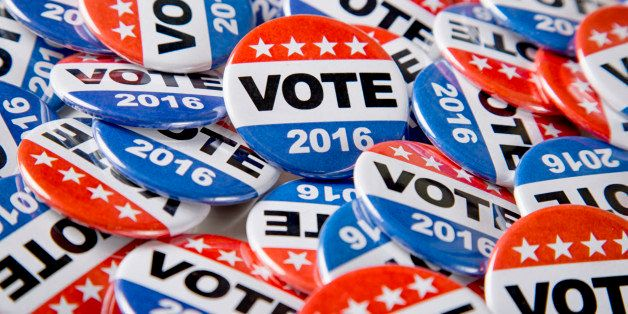 Get out the vote in 2016 with a stock photo of electioneering campaign vote buttons.