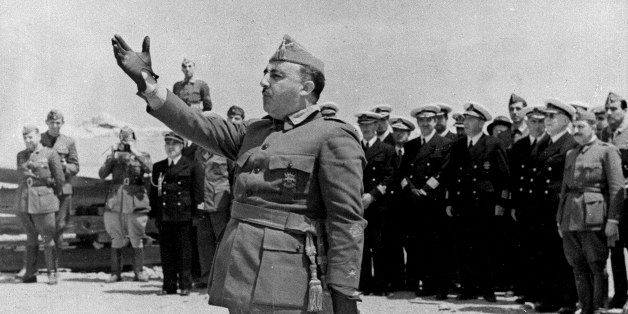 **  TO MATCH STORY SLUGGED SPAIN-FRANCO ANNIVERSARY  ** General Francisco Franco speaks to naval forces at Vinaroz, Spain, on