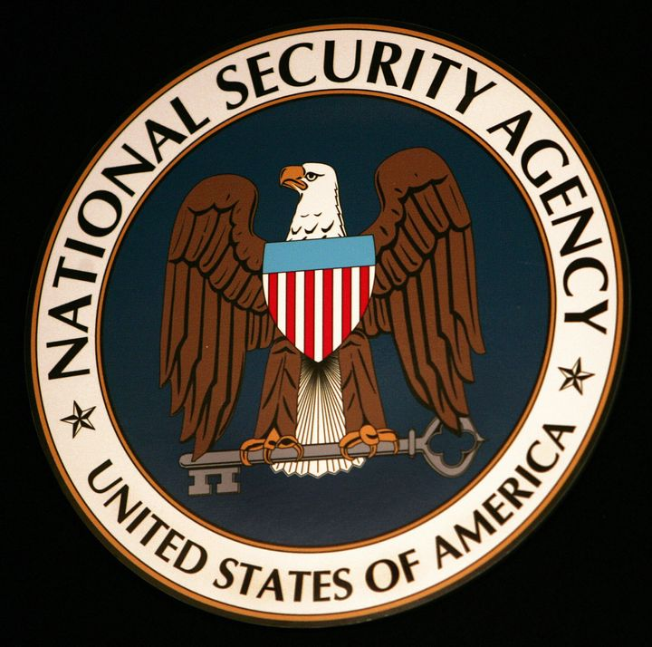 Fort Meade, UNITED STATES:  The logo of the National Security Agency (NSA) hangs at the Threat Operations Center inside the N