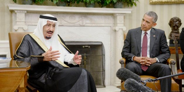 U.S. President Barack Obama, right, listens as King Salman bin Abdulaziz Al Saud of Saudi Arabia speaks during a meeting in t