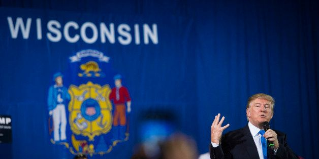 JANESVILLE, WI - MARCH 29: Republican presidential candidate Donald Trump speaks during a campaign town hall event at the Jan