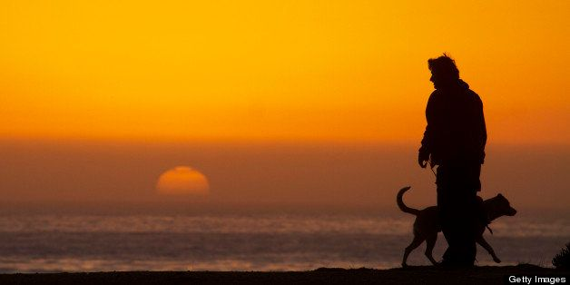 Man with dog admiring sunset on  Pacific Coast at Monterey Bay