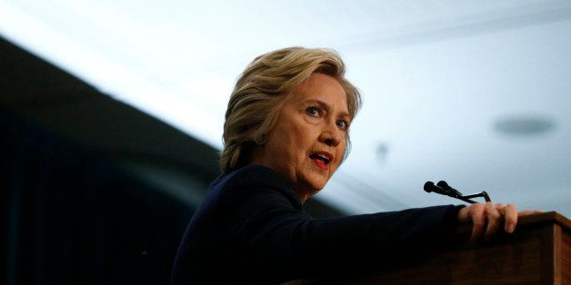 Democratic presidential candidate Hillary Clinton speaks during an event named as a 'victory rally for $15 minimum wage and p