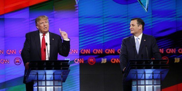 Republican presidential candidate, businessman Donald Trump speaks, as Republican presidential candidate, Sen. Ted Cruz, R-Te