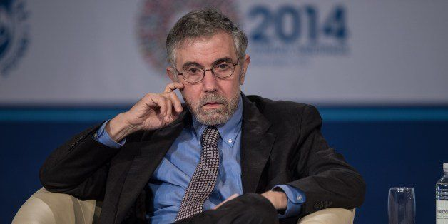 Nobel Prize-winning economist Paul Krugman attends a talk on the Challenges of Job-Rich and Inclusive Growth - Session 2: Pub