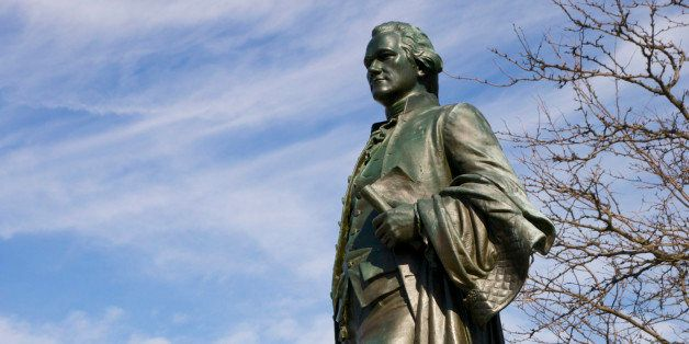 Statue of Alexander Hamilton, Great Falls, Paterson, New Jersey, USA.    Alexander Hamilton envisioned the potential power of