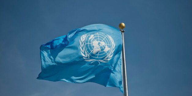 New York, United States - September 25: The logo of United Nations ( UN ) at a flag at UN-headquarters on September 25, 2015