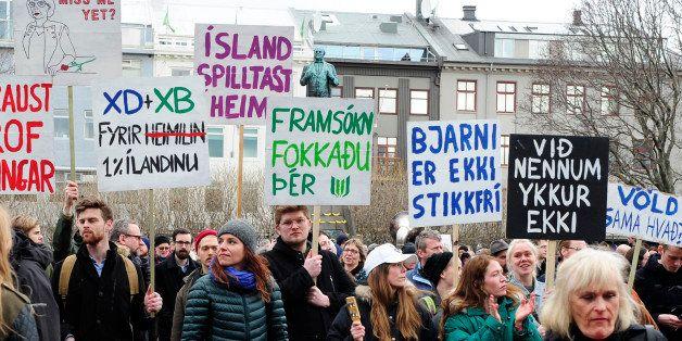 People demonstrate against Iceland's Prime Minister Sigmundur David Gunnlaugsson in Reykjavik, Iceland April 5, 2016. Gunnlau