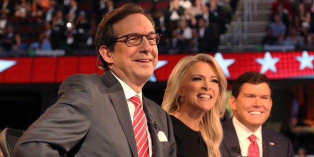 Fox News Channel debate moderators (L-R), Chris Wallace, Megyn Kelly and Brett Baier, start the first official Republican pre