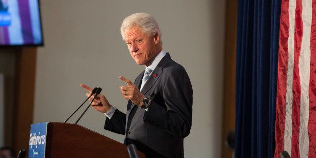 NEW YORK, UNITED STATES - 2016/04/11: Bill Clinton rallies for Hillary in Lefferts Gardens. (Photo by Louise Wateridge/Pacifi