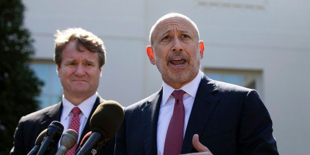 Lloyd Blankfein, Chairman and CEO of The Goldman Sachs Group speaks alongside Brian Moynihan, CEO of Bank of America, after a
