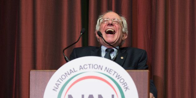 NEW YORK CITY, NY, UNITED STATES - 2016/04/14: Bernie sanders gestures as he delivers remarks at the 25th Anniversary Nationa