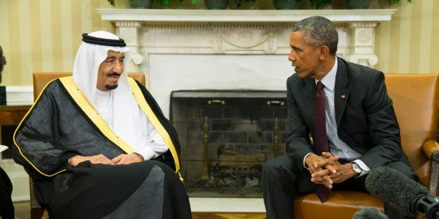 President Barack Obama, right, meets with King Salman of Saudi Arabia in the Oval Office of the White House, on Friday, Sept.