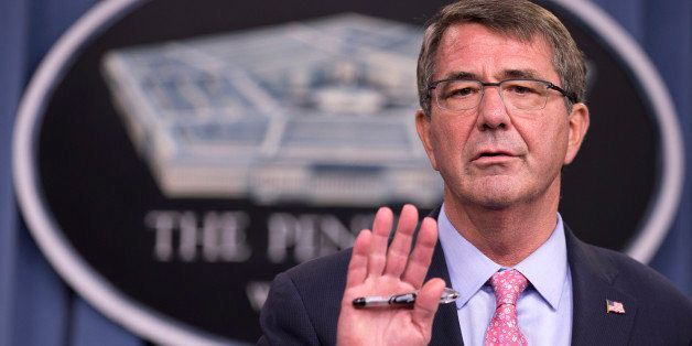 Defense Secretary Ash Carter speaks to reporters during a news conference at the Pentagon, Wednesday, Sept. 30, 2015. Carter