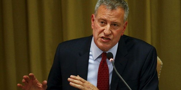 "New York City Mayor Bill de Blasio speaks during the ""Modern Slavery and Climate Change"" meeting at the Vatican July 21, 2015"