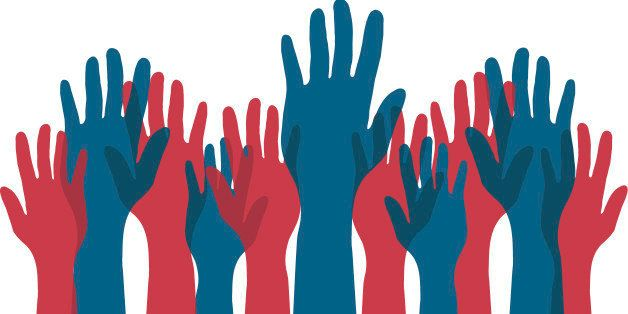 Arms raised for voting.