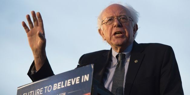 Democratic presidential candidate Bernie Sanders speaks to the crowd gathered April 18, 2016 in New York.  US presidential h