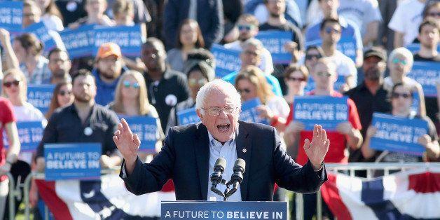 NEW YORK, NY - APRIL 17:  Democratic presidential candidate U.S Senator, Bernie Sanders speaks during, 'A Future To Believe I