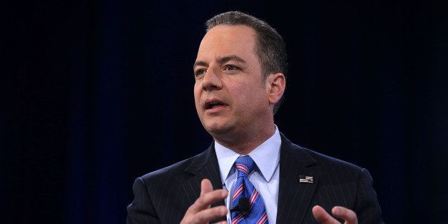NATIONAL HARBOR, MD - MARCH 04:  Chairman of the Republican National Committee Reince Priebus participates in a discussion du