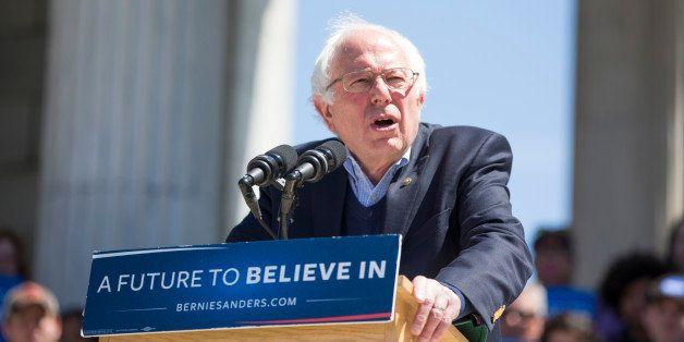 PROVIDENCE, RI - APRIL 24:  Democratic presidential candidate U.S. Sen. Bernie Sanders (D-VT) speaks during his rally at Roge