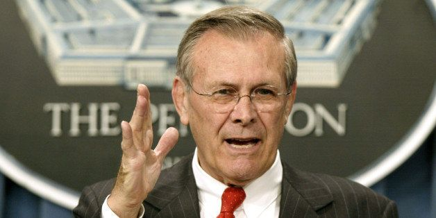 Secretary of Defense Donald Rumsfeld makes a point during a briefing at the Pentagon April 3, 2002. Rumsfeld denied broadcas