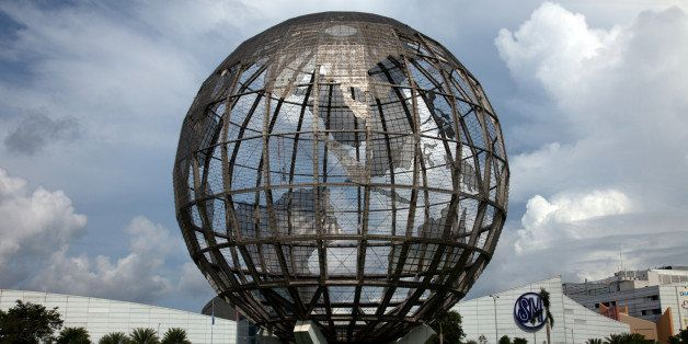 World map globe in front of Mall of Asia