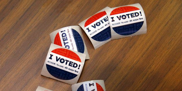 Voting stickers at First Presbyterian Church in River Forest on Tuesday, March 15, 2016 in Chicago. (Jose M. Osorio/Chicago T