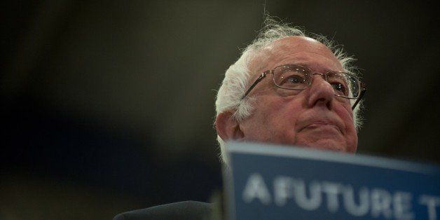 PITTSBURGH, PENNSYLVANIA - APRIL 25: Democratic presidential candidate Bernie Sanders speaks during a rally at the Fitzgerald