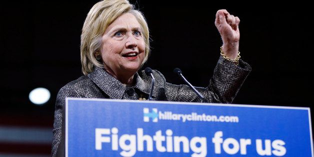 Democratic presidential candidate Hillary Clinton speaks at her presidential primary election night rally, Tuesday, April 26,